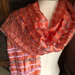 Orange Pink Blue and cream colors in a silk scarf